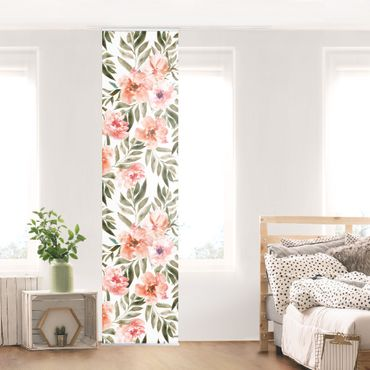 Schiebegardinen Set - Aquarell Rosa Blüten vor Weiß - 6 Flächenvorhänge