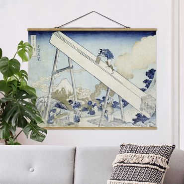 Stoffbild mit Posterleisten - Katsushika Hokusai - In den Totomi Bergen - Querformat 3:4