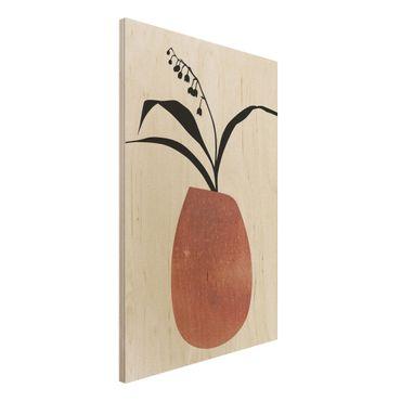 Holzbild - Grafische Pflanzenwelt - Maiglöckchen - Hochformat 3:2