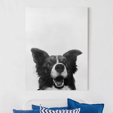 Leinwandbild - Illustration Hund Border Collie Schwarz Weiß Malerei - Hochformat 4:3