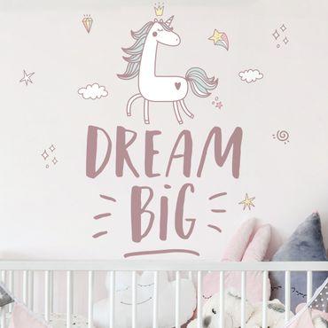 Wandtattoo mehrfarbig - Dream Big Einhorn