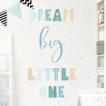 Wandtattoo mehrfarbig - Dream big little one Blau