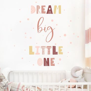 Wandtattoo mehrfarbig - Dream big little one Rosa