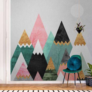 Metallic Tapete  - Dreieckige Berge mit Goldspitzen