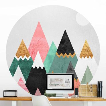 Runde Tapete selbstklebend - Dreieckige Berge mit Goldspitzen
