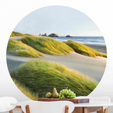 Runde Tapete selbstklebend - Dünen und Gräser am Meer