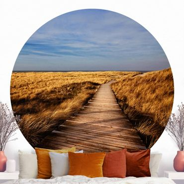 Runde Tapete selbstklebend - Dünenweg auf Sylt