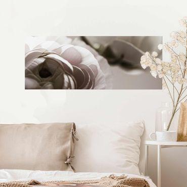 Glasbild - Dunkle Blüte im Fokus - Panorama