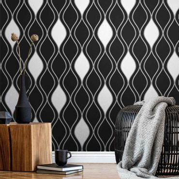 Metallic Tapete  - Dunkles Retro Muster mit glänzenden Tropfen