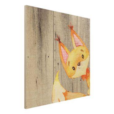 Holzbild - Aquarell Fuchs auf Holz - Quadrat 1:1