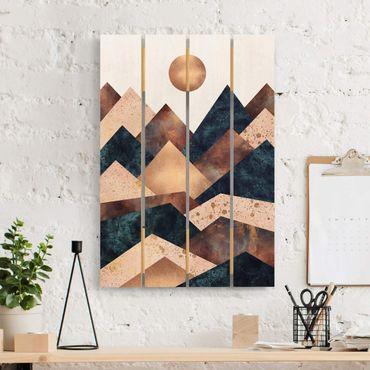 Holzbild - Elisabeth Fredriksson - Geometrische Berge Bronze - Hochformat 3:2