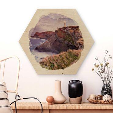 Hexagon Bild Holz - Wasserfarben - Steilküste und Leuchtturm