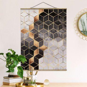 Stoffbild mit Posterleisten - Elisabeth Fredriksson - Schwarz Weiß goldene Geometrie - Hochformat 4:3