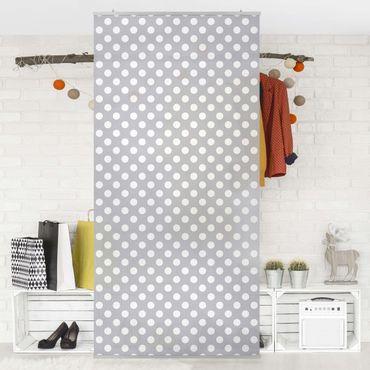 Raumteiler - Punkte in Weiß auf Grau 250x120cm