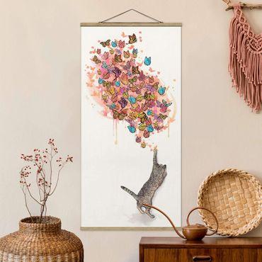Stoffbild mit Posterleisten - Laura Graves - Illustration Katze mit bunten Schmetterlingen Malerei - Hochformat 1:2