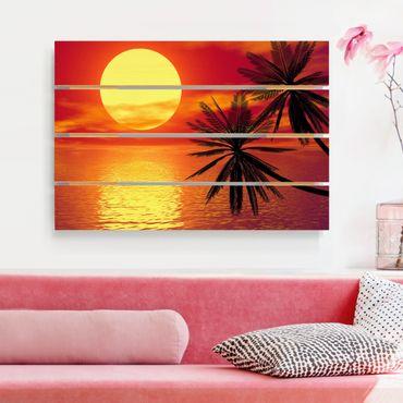 Holzbild - Karibischer Sonnenuntergang - Querformat 2:3