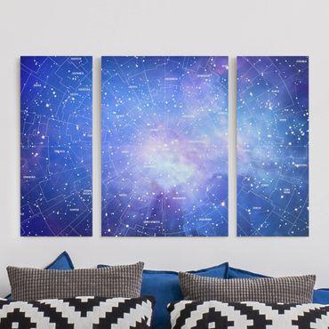 Leinwandbild 3-teilig - Sternbild Himmelkarte - Tryptichon