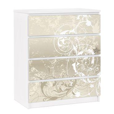 Möbelfolie für IKEA Malm Kommode - selbstklebende Folie Perlmutt Ornament