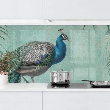 Küchenrückwand - Shabby Chic Collage - Edler Pfau