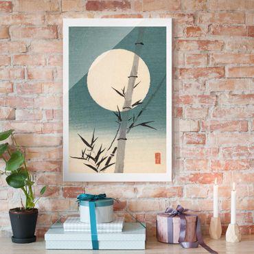 Glasbild - Japanische Zeichnung Bambus und Mond - Hochformat 3:2