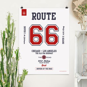 Poster - Route 66 - Best Drivers hell - Hochformat 3:4