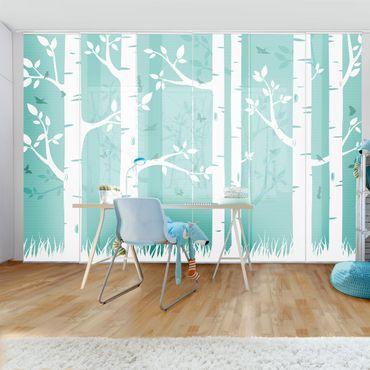 Schiebegardinen Set - Grüner Birkenwald mit Schmetterlingen und Vögel - Flächenvorhänge