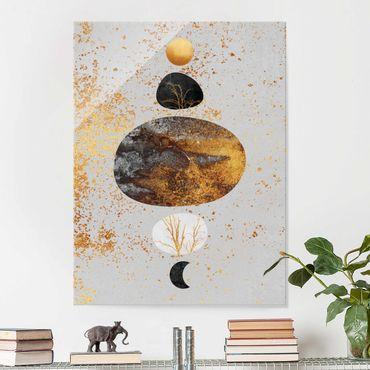 Glasbild - Sonne und Mond in Goldglanz - Hochformat 4:3