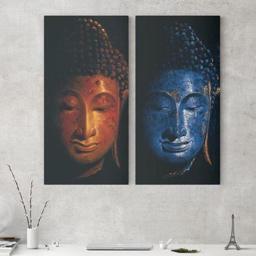 Leinwandbild 2-teilig - Delhi und Madras Buddha - Hoch 1:2