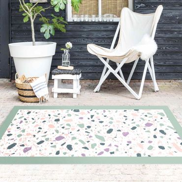 Vinyl-Teppich - Detailliertes Terrazzo Muster Agrigento mit Rahmen - Querformat 2:1