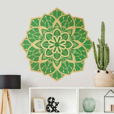 Wandtattoo - Mandala Blüte Muster gold grün