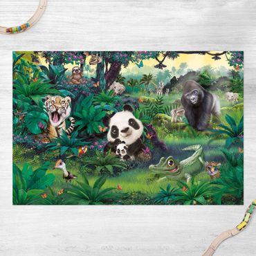 Vinyl-Teppich - Animal Club International - Dschungel mit Tieren - Querformat 3:2