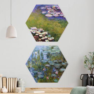 Hexagon Bild Alu-Dibond 2-teilig - Claude Monet - Seerosen Set