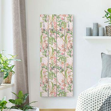 Wandgarderobe Holz - Rosa Kakadus mit Blumen - Haken chrom Hochformat