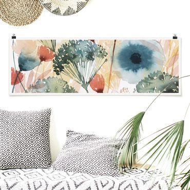 Poster - Wildblumen im Sommer I - Panorama Querformat