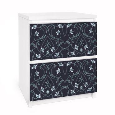 Möbelfolie für IKEA Malm Kommode - Selbstklebefolie Blumen Ornament Fantasie