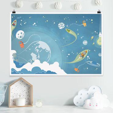 Poster - No.MW16 Buntes Weltraumtreiben - Querformat 2:3