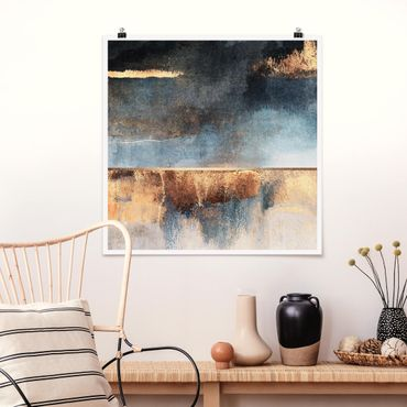 Poster - Abstraktes Seeufer in Gold - Quadrat 1:1