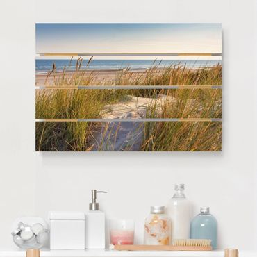 Holzbild - Stranddüne am Meer - Querformat 2:3