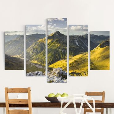 Leinwandbild 5-teilig - Berge und Tal der Lechtaler Alpen in Tirol
