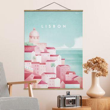 Stoffbild mit Posterleisten - Reiseposter - Lissabon - Hochformat 4:3