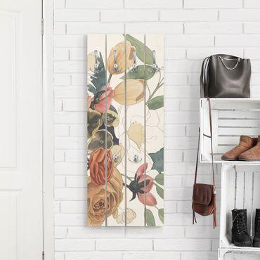 Wandgarderobe Holz - Zeichnung Blumenbouquet in Rot und Sepia II - Haken chrom Hochformat