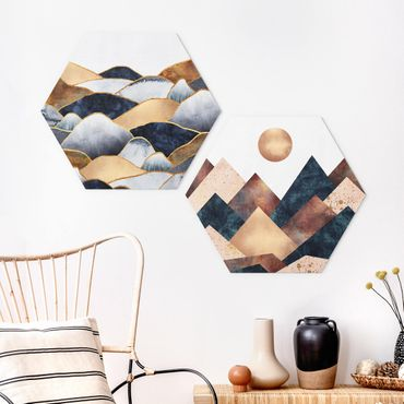 Hexagon Bild Forex 2-teilig - Elisabeth Fredriksson - Geometrische & Goldene Berge Aquarell