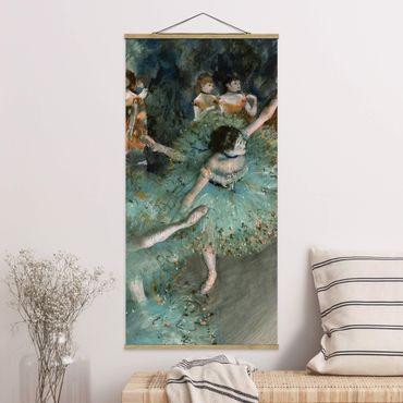 Stoffbild mit Posterleisten - Edgar Degas - Tänzerinnen in Grün - Hochformat 2:1