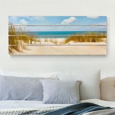 Holzbild - Strand an der Nordsee - Querformat 2:5