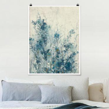 Poster - Blaue Frühlingswiese I - Hochformat 3:4