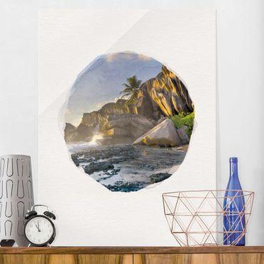 Glasbild - Wasserfarben - Sonnenuntergang im Inselparadies - Hochformat 4:3