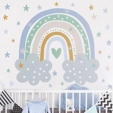 Wandtattoo - Regenbogen mit Wolken Blau Türkis
