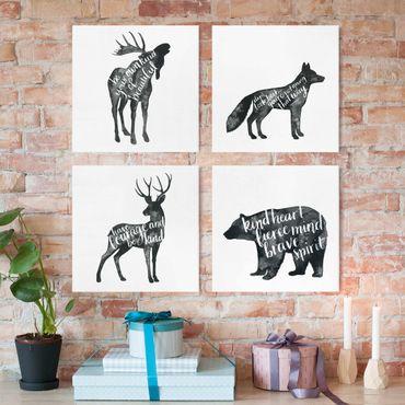 Leinwandbild 4-teilig - Tiere mit Weisheit Set I