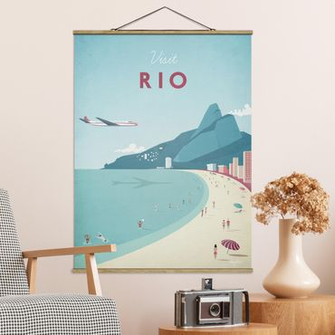 Stoffbild mit Posterleisten - Reiseposter - Rio de Janeiro - Hochformat 4:3