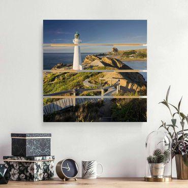 Holzbild - Castle Point Leuchtturm Neuseeland - Quadrat 1:1